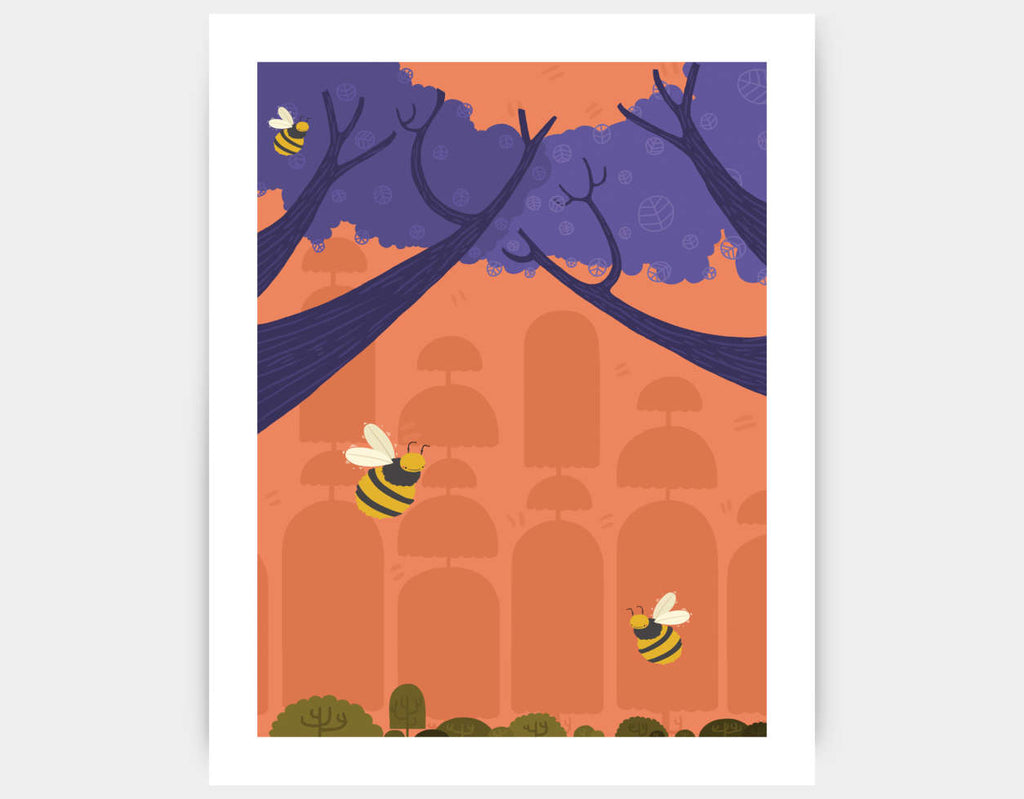 Buzzing Bumblebees Art Print by Erin McLaughlin - Large