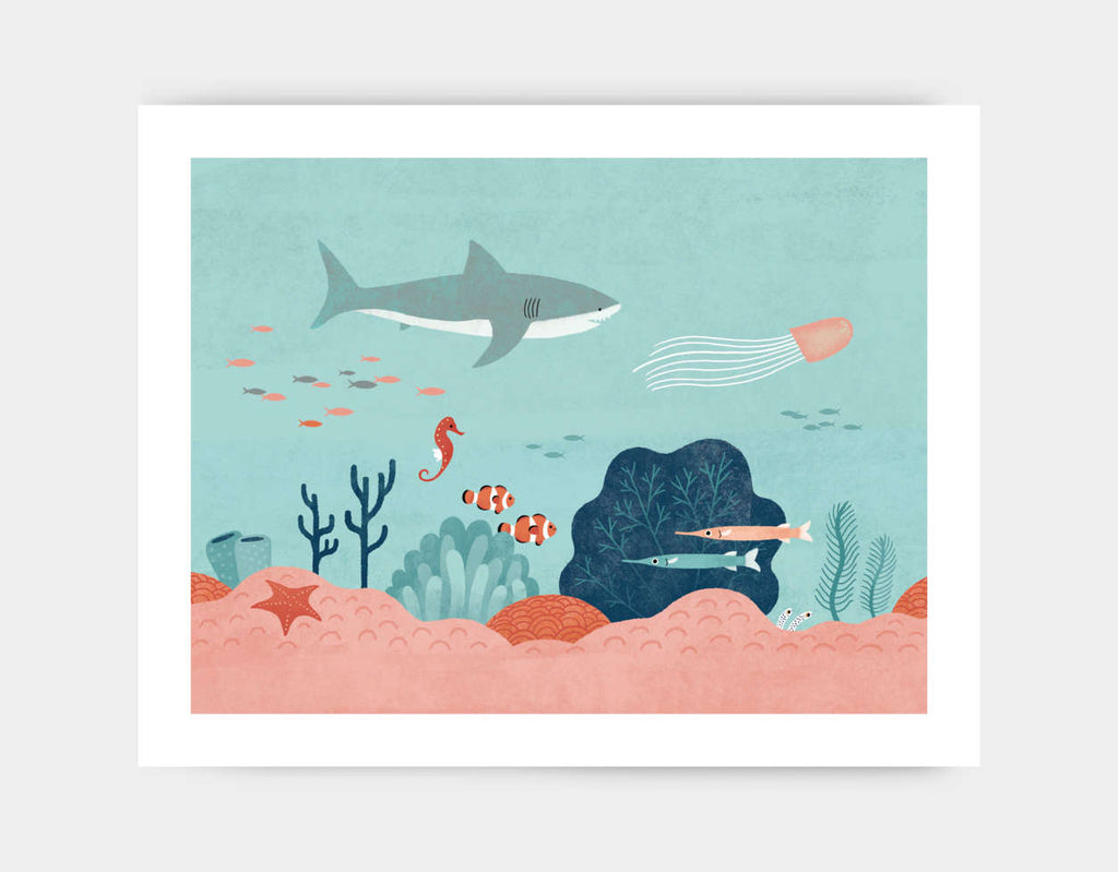 Life in the Coral Reef Art Print by Emily Dove - Large
