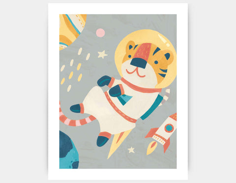 Tiger Astronaut Art Print by Irene Chan - Large