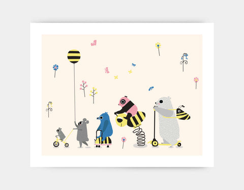 Happy Play Parade Art Print by Sue Downing - Large
