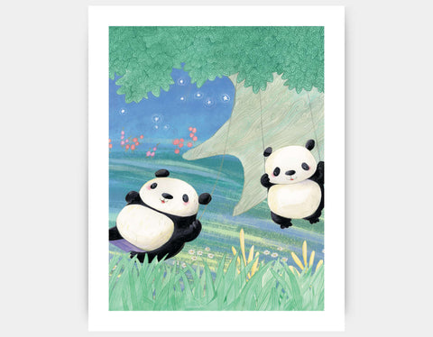 Swinging Pandas Art Print by Rose Clayton - Large