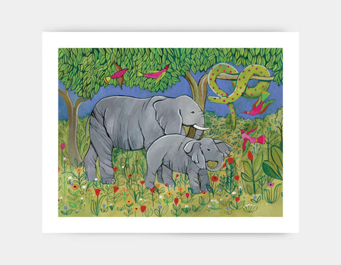 Jungle Elephants Art Print by Jenny Reynish - Large