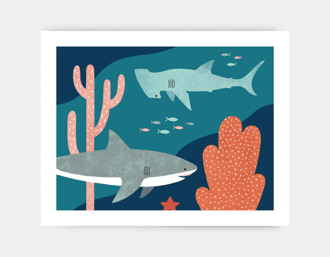Silly Sharks Art Print by Emily Dove - Large