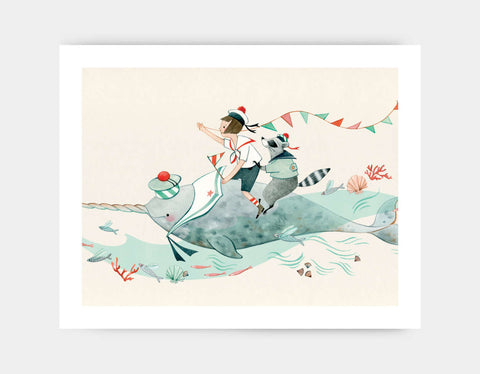 Edie and the Narwhal Art Print by Elodie Coudray - Large