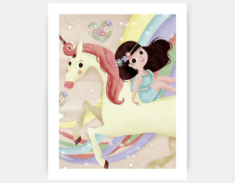 Unicorn in Flight Art Print by Valentina Belloni - Large