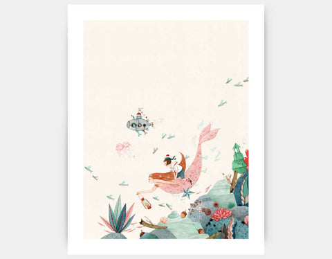 Edie and the Mermaid Art Print by Elodie Coudray - Large