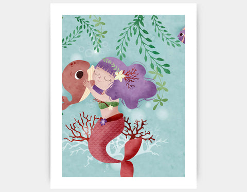 Hug My Little Whale Art Print by Valentina Belloni - Large
