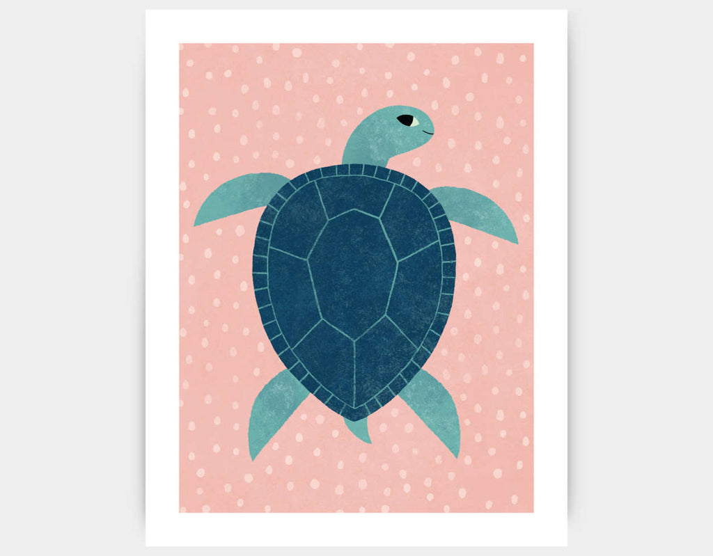 Smiling Sea Turtle Art Print by Emily Dove - Large