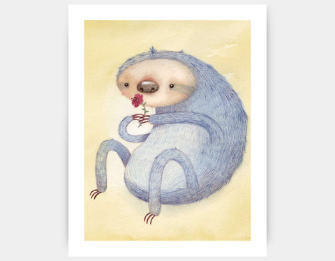Sloth and the Flower Art Print by Neesha Hudson - Large