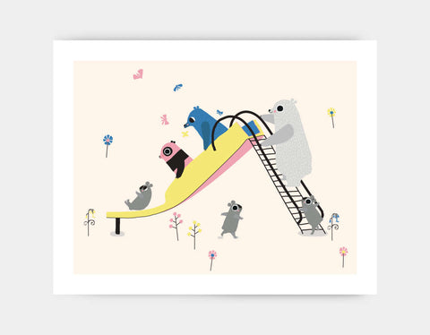 Happy Play Slide Art Print by Sue Downing - Large
