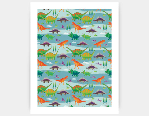 Dinosaur Land Art Print by Liza Lewis - Large