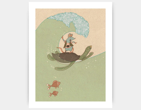 Surfing Pirate-Style Art Print by Alexandra Ball - Large