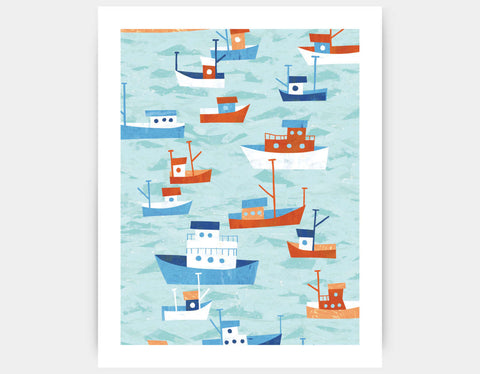Boats in the Bay Art Print by Kyle Reed - Large
