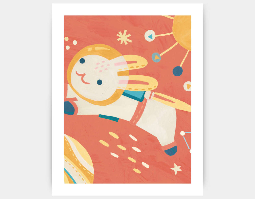 Rabbit Astronaut Art Print by Irene Chan - Large