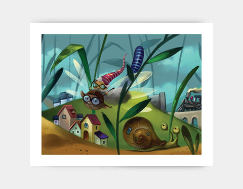 A Buggy Flight Art Print by Marcin Piwowarski - Large