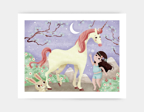 A Girl and Her Unicorn Art Print by Valentina Belloni - Large