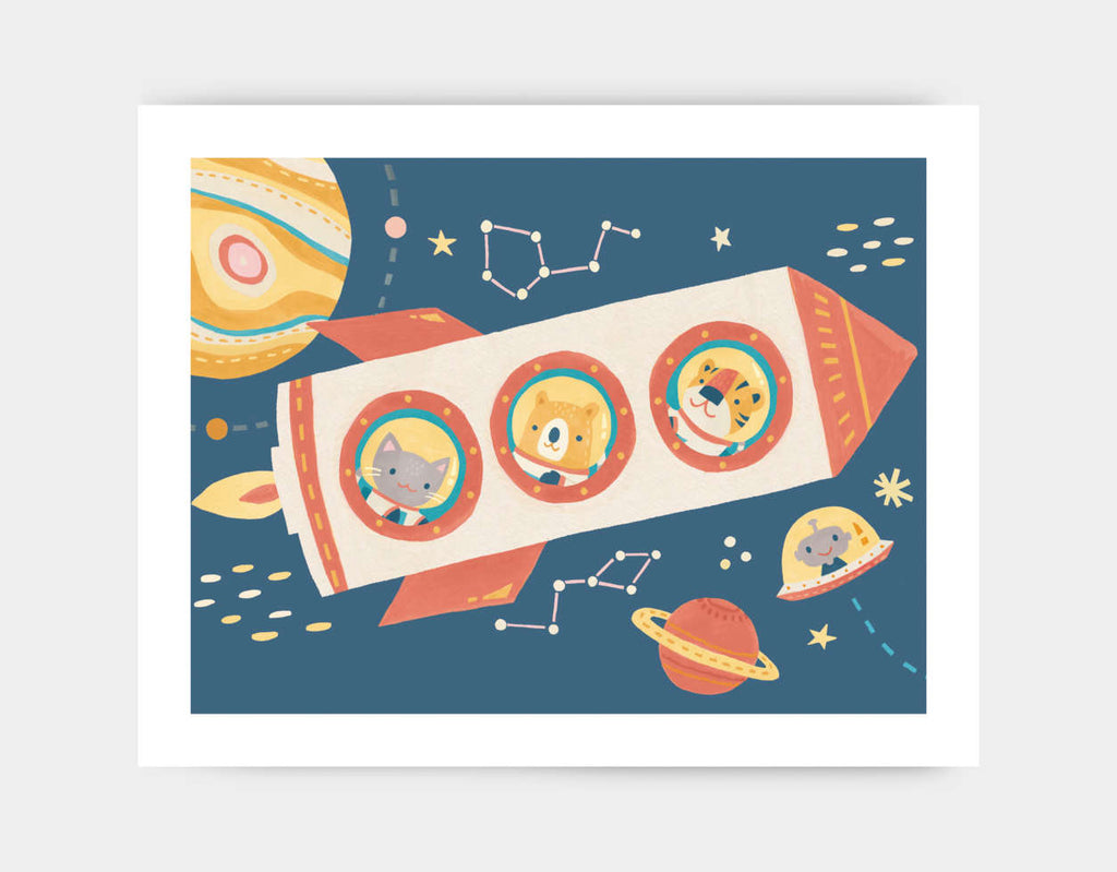 Rocket to the Moon Art Print by Irene Chan - Large