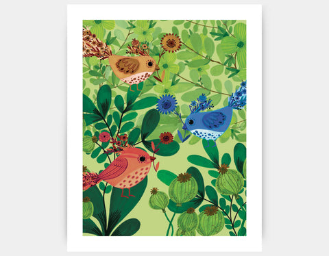 Jungle Birds Art Print by Kay Widdowson - Large