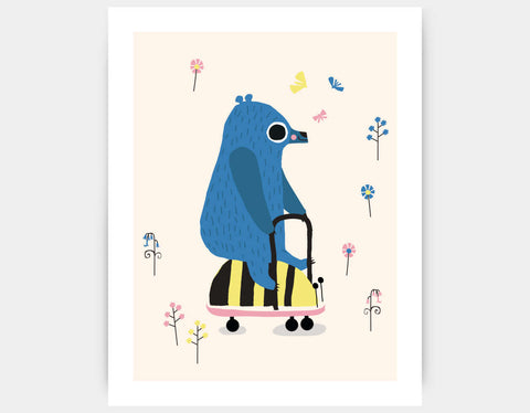 Happy Play Little Blue Bear Art Print by Sue Downing - Large