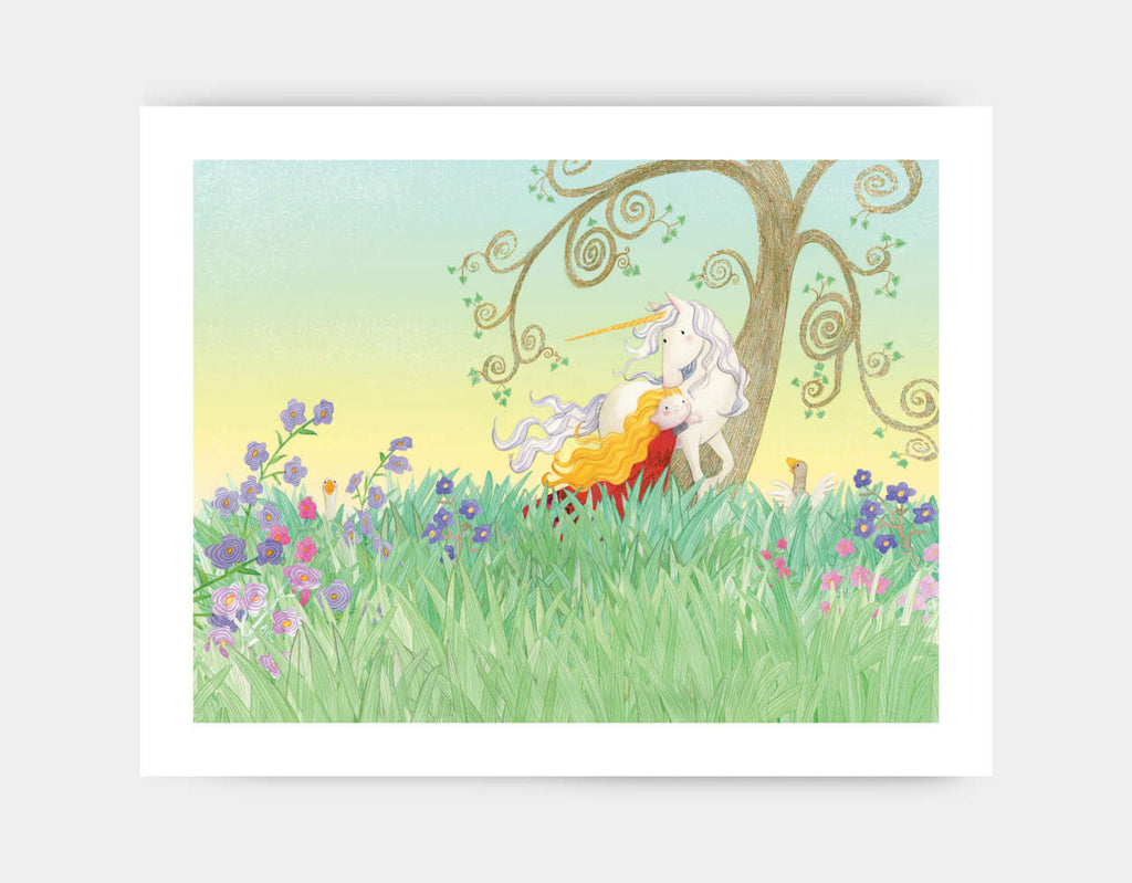 The Princess and the Unicorn Art Print by Rose Clayton - Large