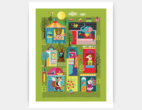Neighborhood Buddies Art Print by Ellen Giggenbach - Large