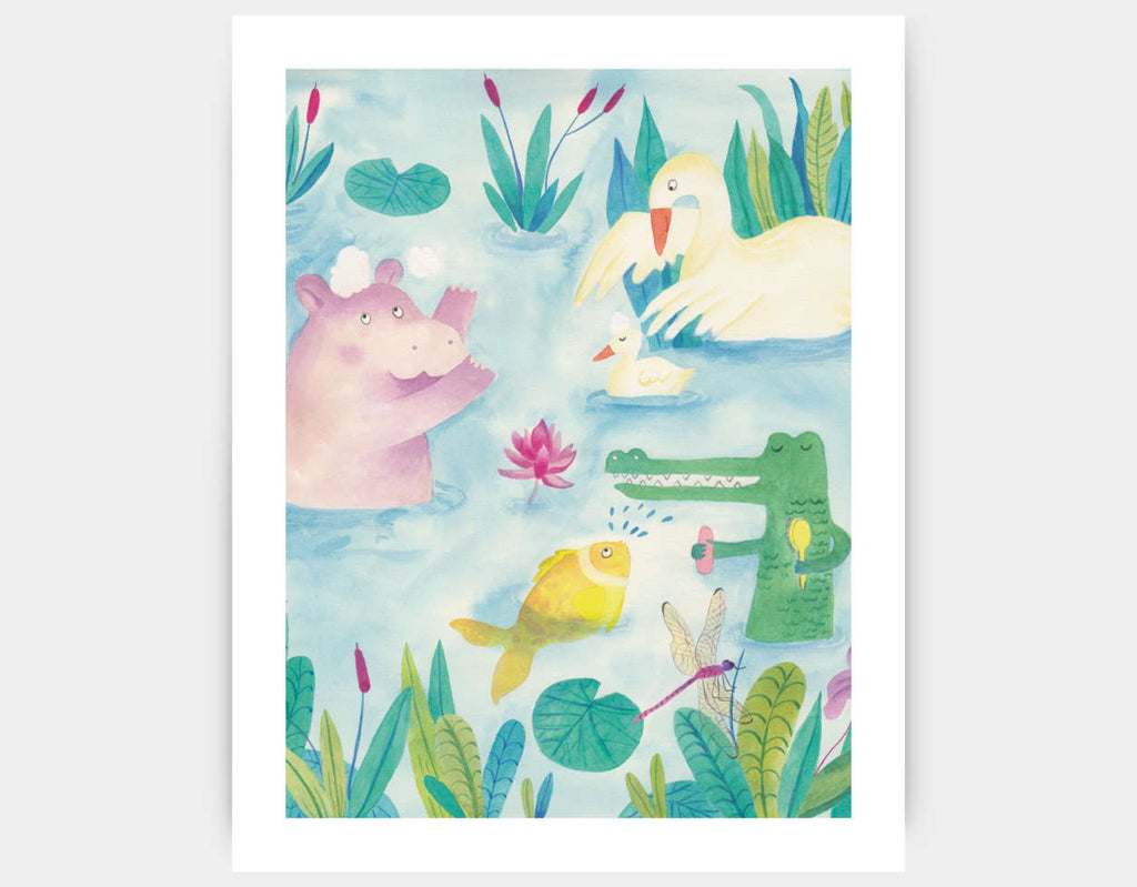 Playing at the Lake Art Print by Betânia Sensini - Large