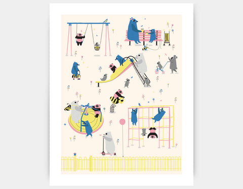 Happy Play Playground Art Print by Sue Downing - Large