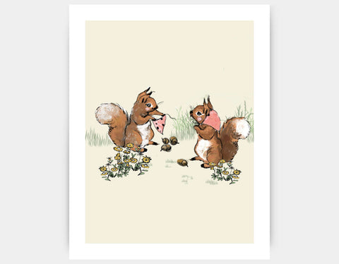 Squirrel Friends Art Print by Paola Zakimi - Large