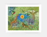 Jungle Gathering Art Print by Jenny Reynish - Large