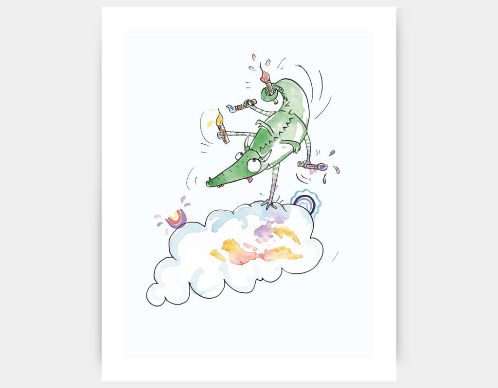 Jumping Dragon Art Print by Julie Parker - Large