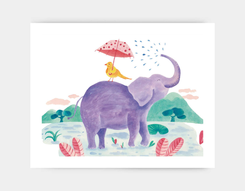 Little Bird and Elephant Art Print by Betânia Sensini - Large