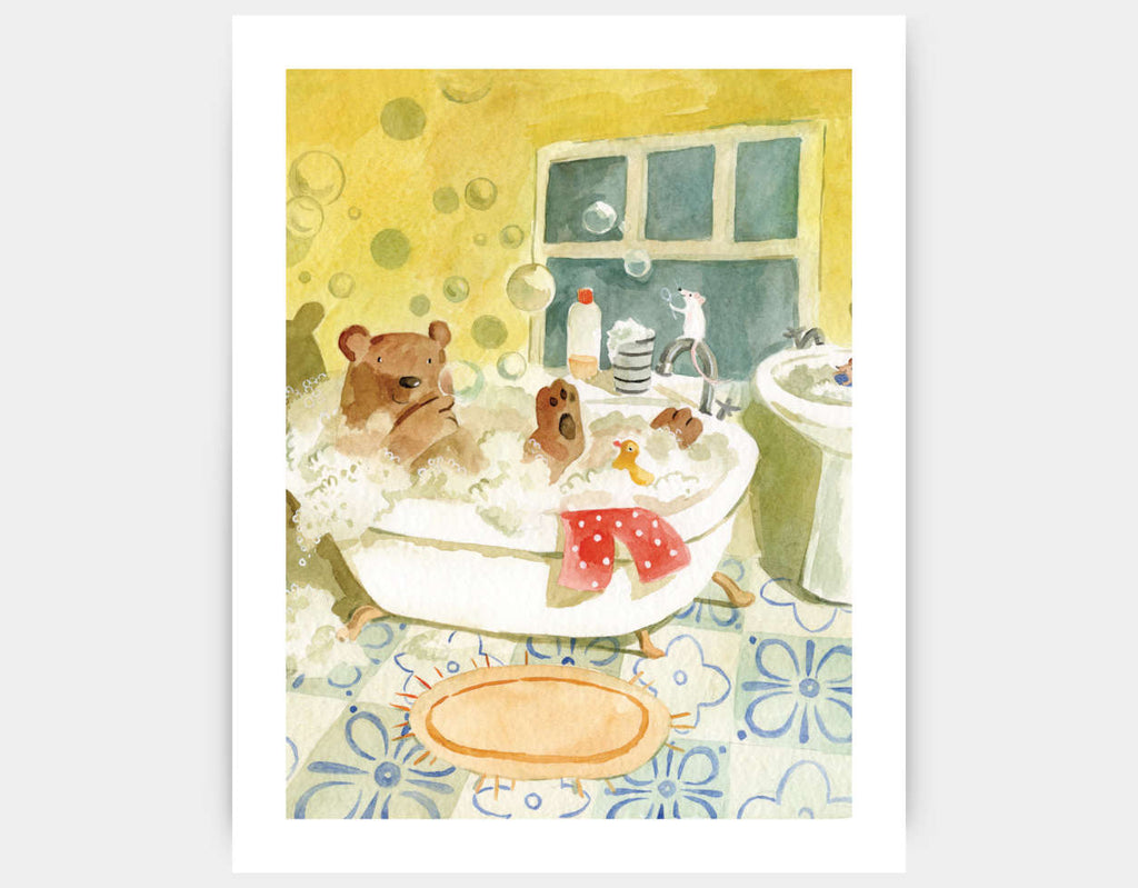 Best Bear Themed Wall Art Print for Children\'s Bathroom