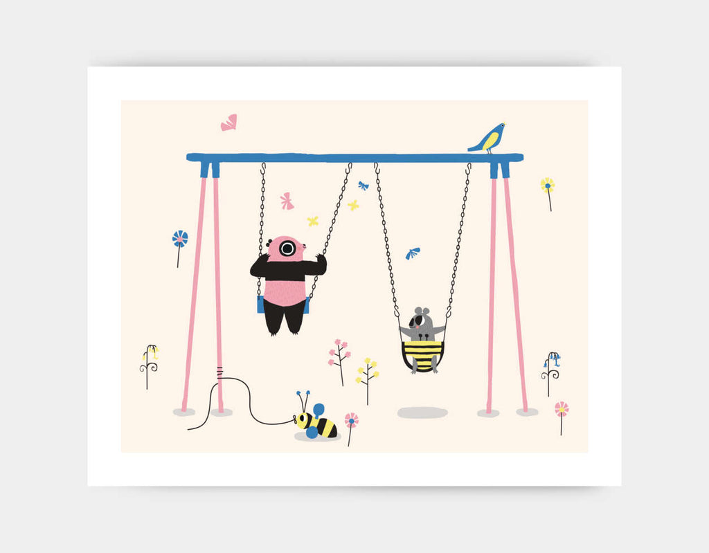 Happy Play Swings Art Print by Sue Downing - Large