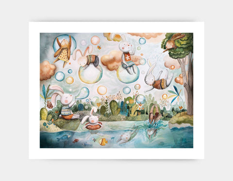 Bubble Land Art Print by Timea Janos - Large