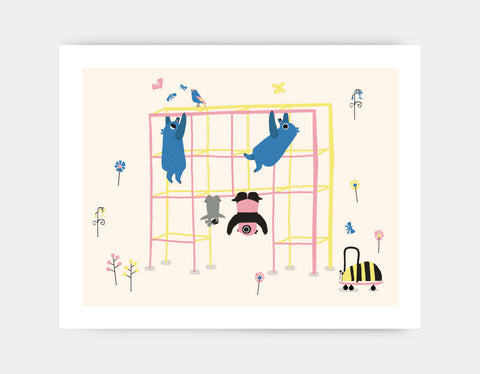Happy Play Monkey Bars Art Print by Sue Downing - Large