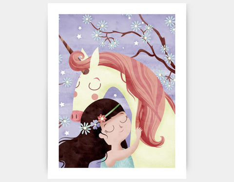 Unicorn Hugs Art Print by Valentina Belloni - Large