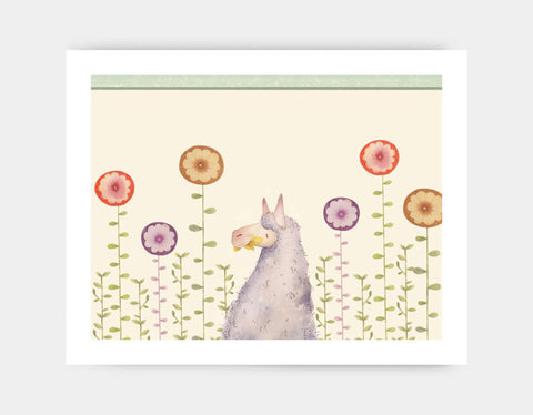 Llama in the Garden Art Print by Neesha Hudson - Large
