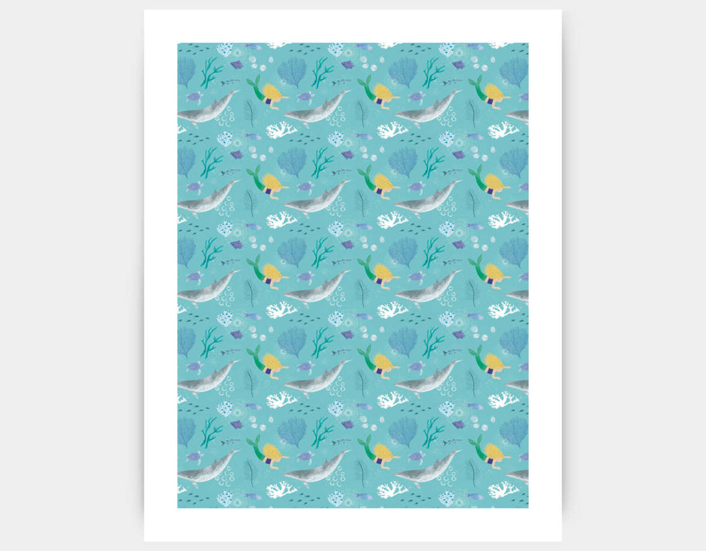 Mermaid Greeting Art Print by Katie Rewse - Large