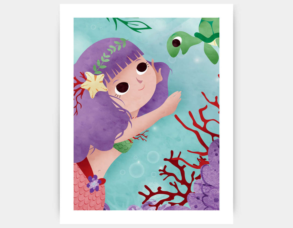 Swimming With a Pretty Turtle Art Print by Valentina Belloni - Large