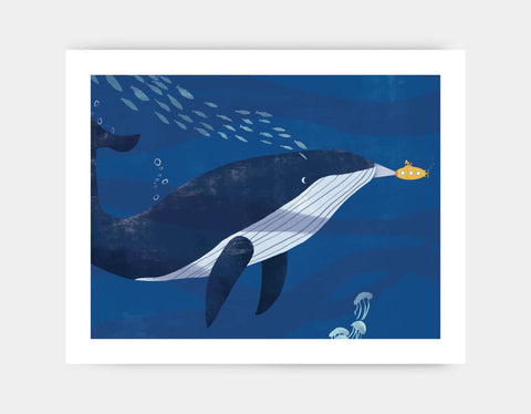 Blue Whale and Submarine Art Print by Rebecca Huang - Large