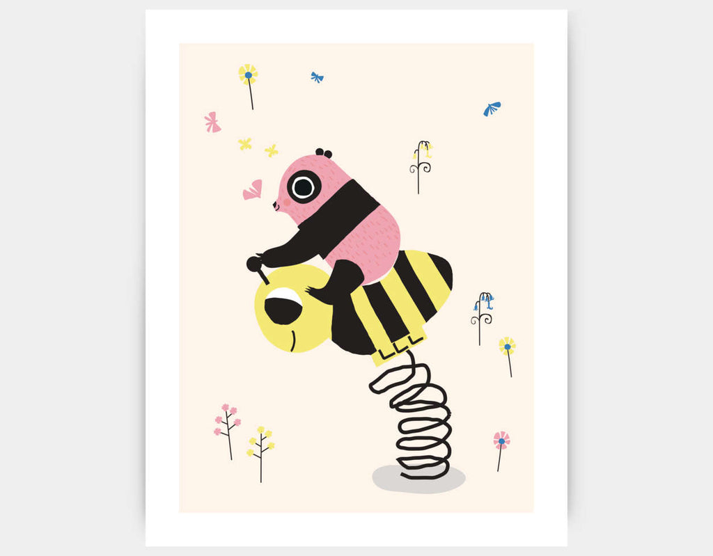 Happy Play Little Pink Panda Art Print by Sue Downing - Large