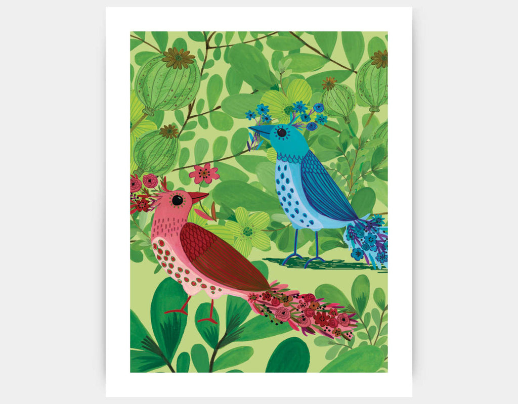 Jungle Birds In The Trees Art Print by Kay Widdowson - Large