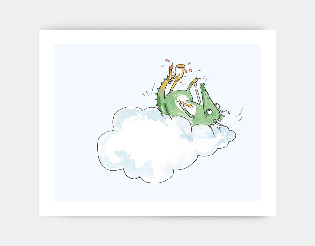Lounging Dragon Art Print by Julie Parker - Large