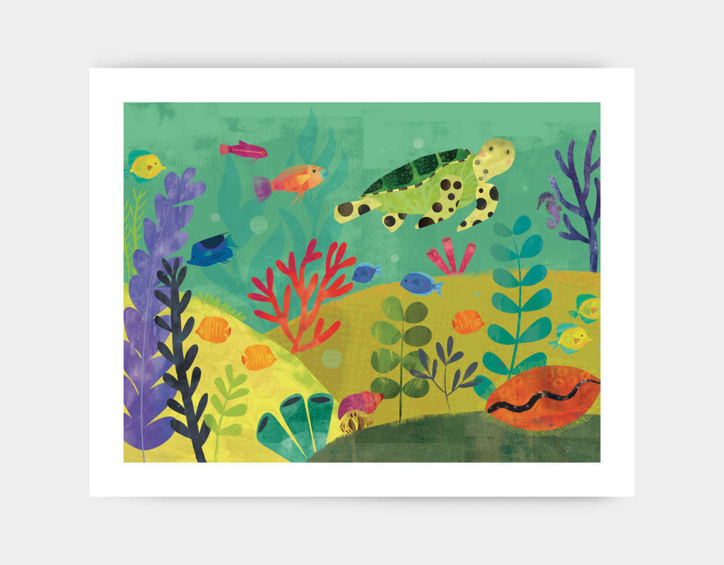Sea Turtle Reef Art Print by Amy Schimler-Safford - Large