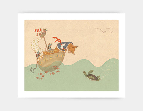Ahoy There, Mr Turtle Art Print by Alexandra Ball - Large