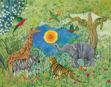 Jungle Gathering Art Print by Jenny Reynish - Design