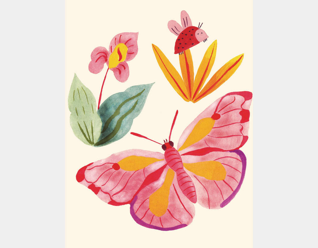 Ladybug and Butterfly Art Pink and Grey Nursery