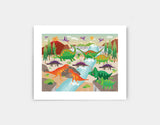 Dinoland Adventure Art Print by Liza Lewis - Small