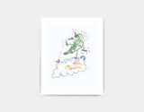 Jumping Dragon Art Print by Julie Parker - Small