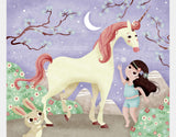A Girl and Her Unicorn Sherpa Blanket by Valentina Belloni - Design